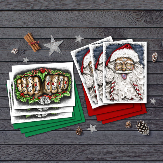 Tattooed Santa & Cool Yule Knuckles Cards Box