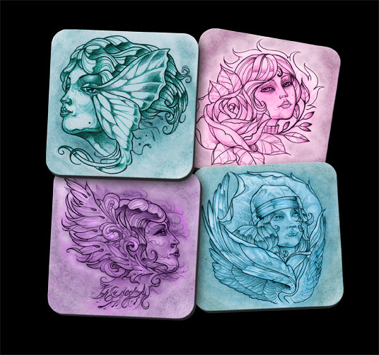 ddddddWomen With Wings Coaster Set