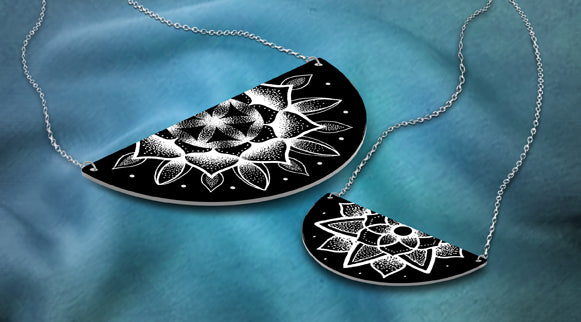 ddddddLarge Black Half Moon Mandala Necklace