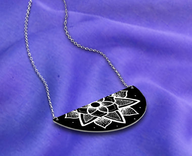 Medium Black Half Moon White Pattern Necklace
