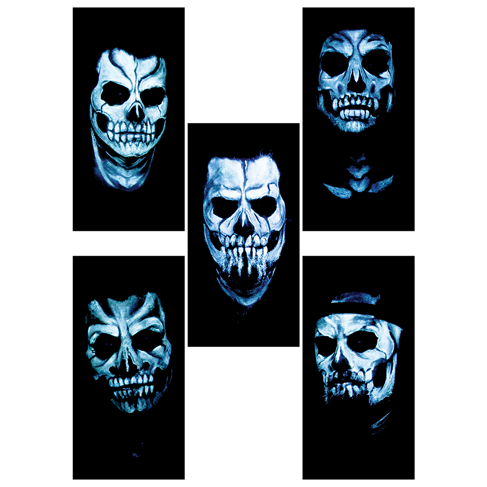 A set of 5 exclusive 2x4 vinyl skull stickers