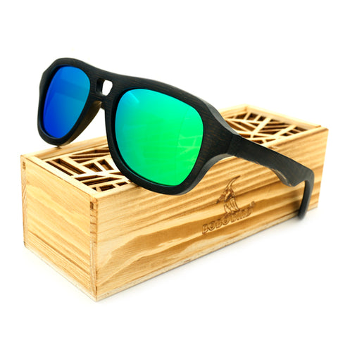 Image of Vintage Pilot Wood Polaroid Sunglasses In Box - TrendyGiftIdea
