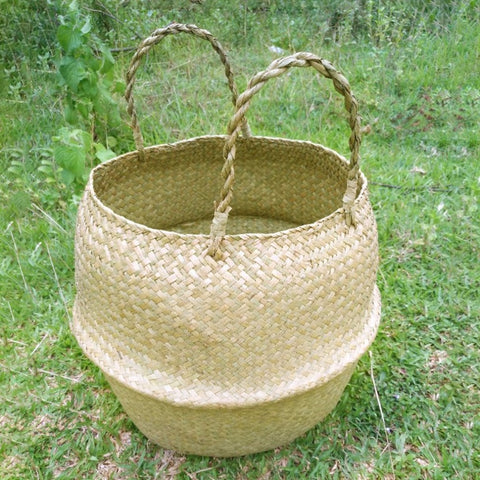 New Household Foldable Natural Seagrass Woven Storage Pot Garden - TrendyGiftIdea