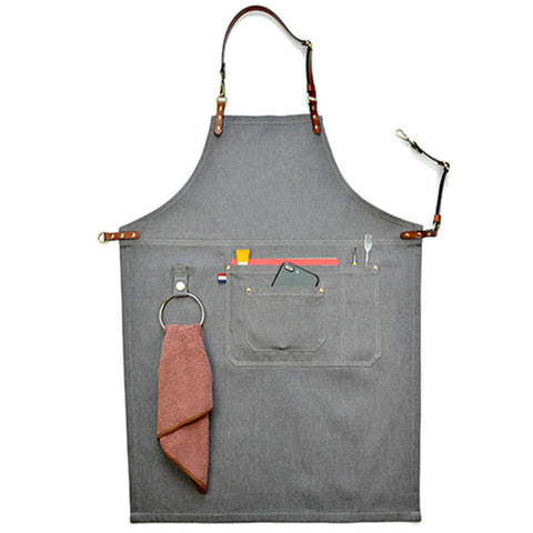 Gray Denim Work Wear Apron with Leather Strap