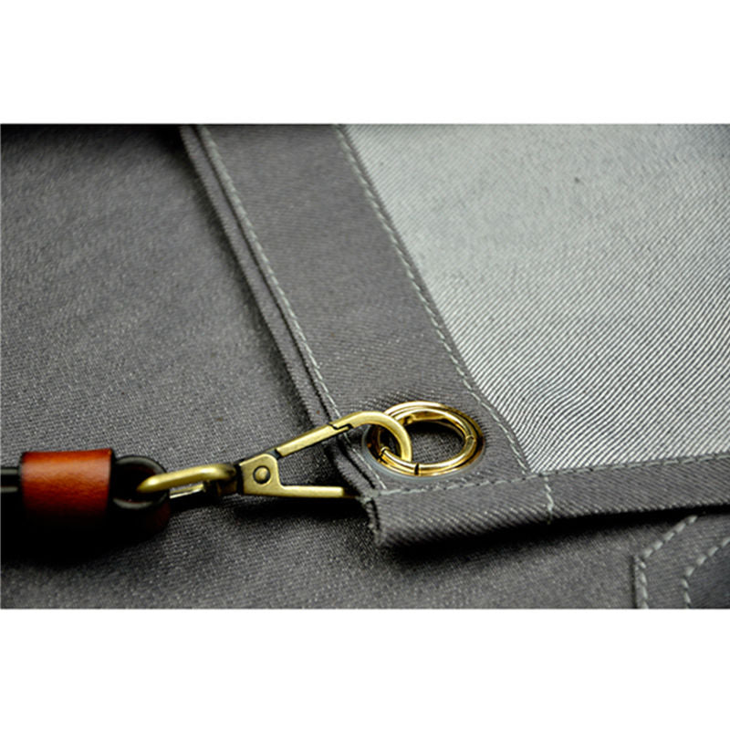 Gray Denim Work Wear Apron with Leather Strap - TrendyGiftIdea