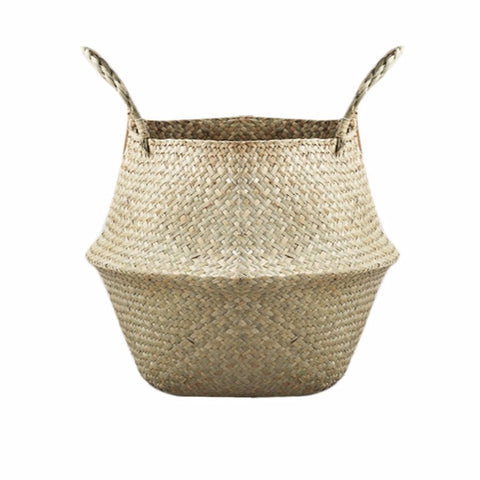 New Household Foldable Natural Seagrass Woven Storage Pot Garden