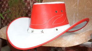 Cow leather cowboy hat red and white