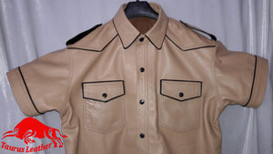 TAURUS LEATHER Beige Color Shirt With Black Trimming