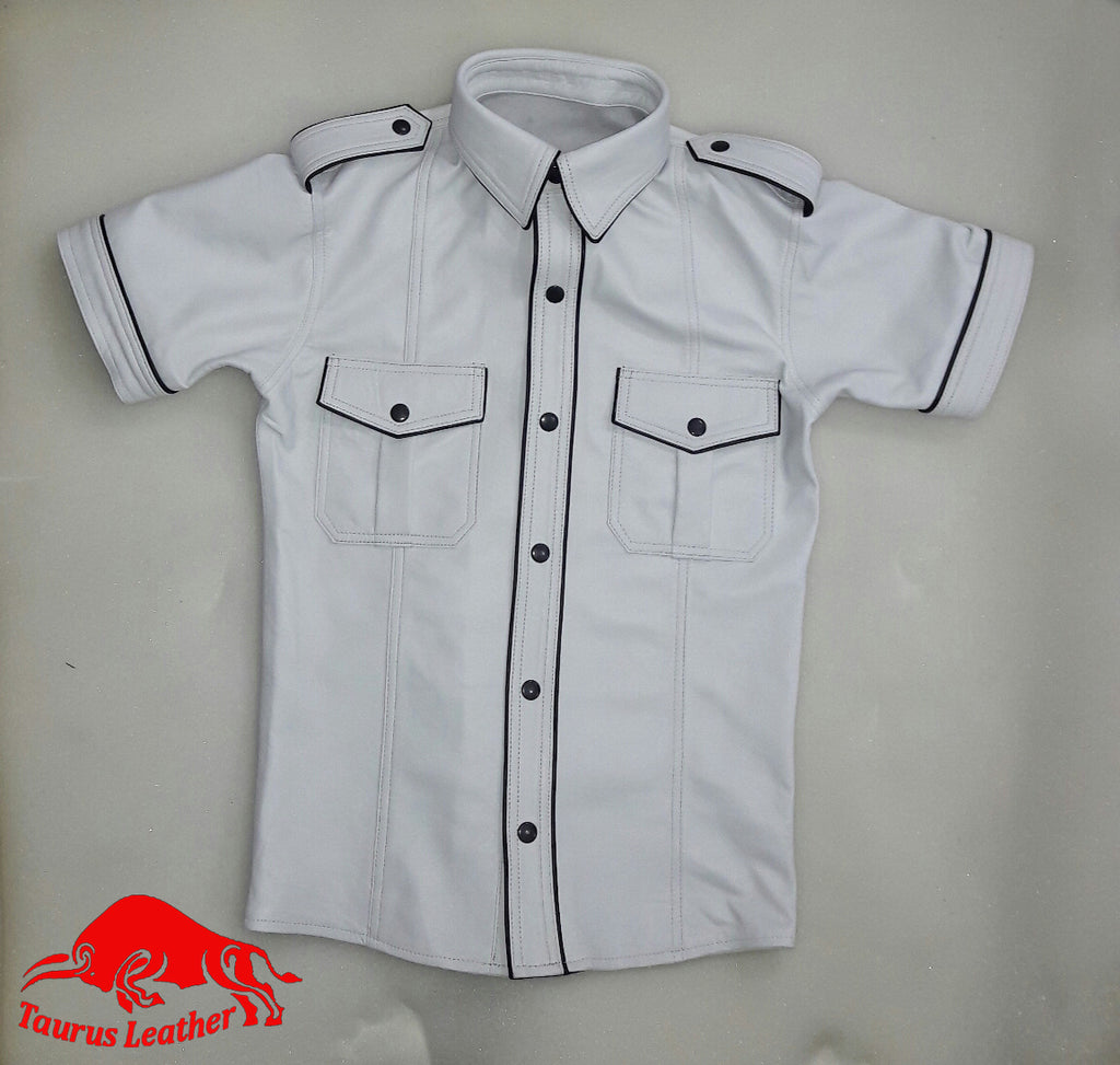 TAURUS LEATHER White Color Sheep Leather Shirt With Black trimming