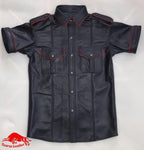 TAURUS LEATHER Black Sheep Leather Shirt With Red Trimming