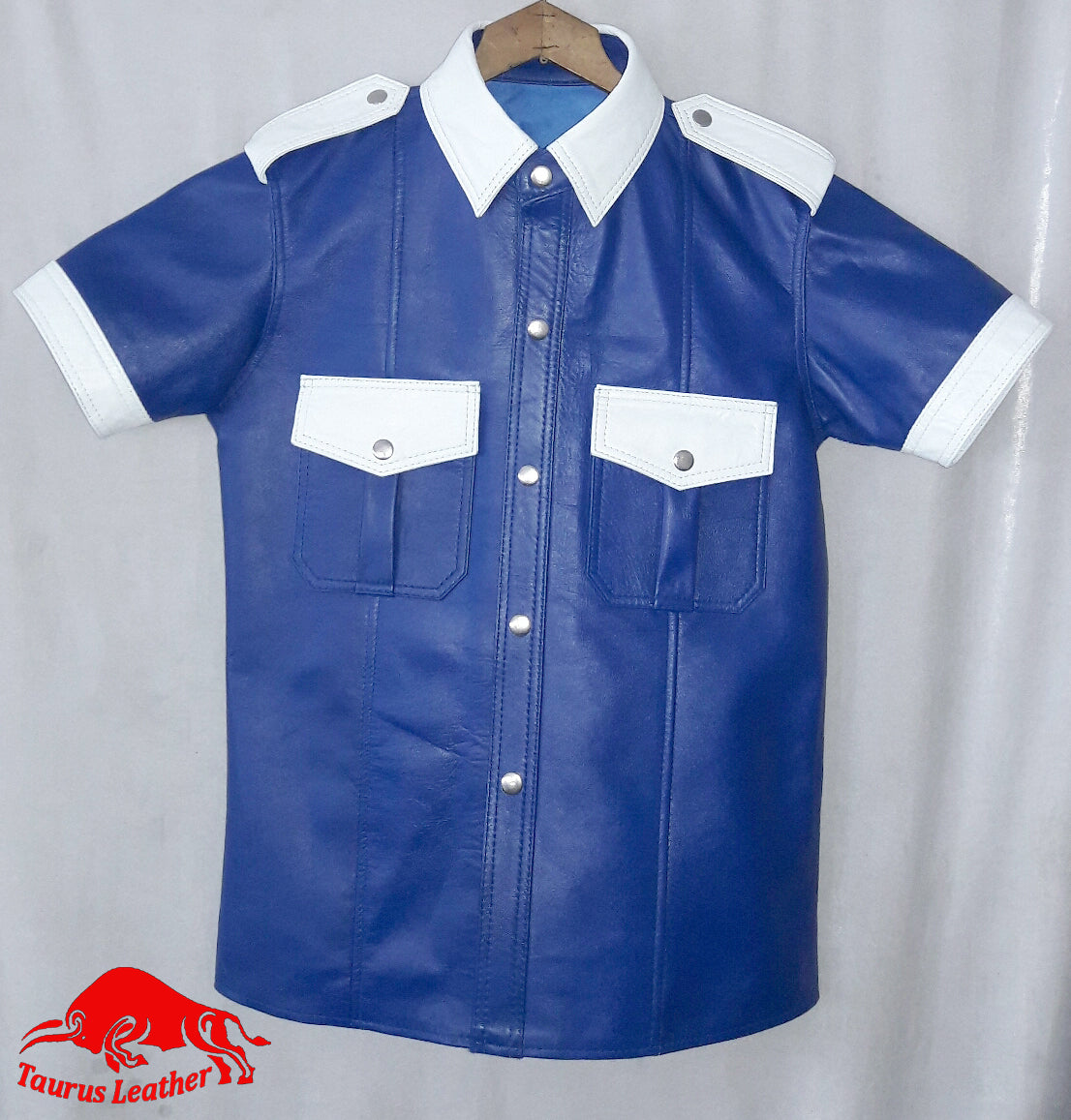 Dark Blue Sheep Leather Shirt With White Contrast