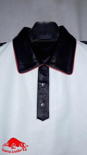 TAURUS LEATHER Polo Shirt Black & White With Red Trimming