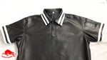 Taurus Leather black Polo shirt white Stripe