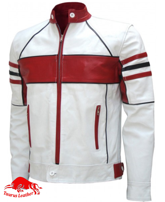White sheep leather jacket with red contrast