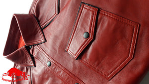 TAURUS LEATHER Red Color Shirt With Black Trimming Full Sleeves
