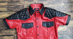 TAURUS LEATHER Black and Red Sheep Leather Shirt