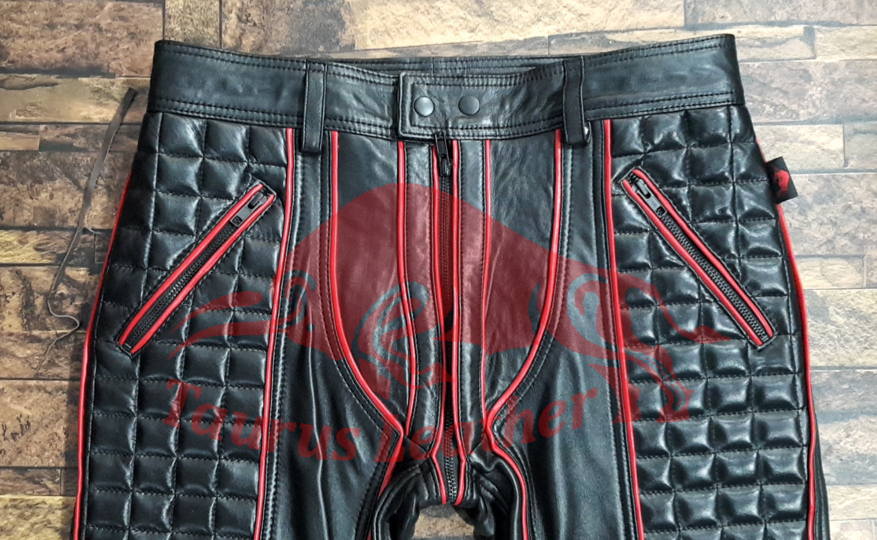 TAURUS LEATHER Sheep Leather Quilted Design Pant With Red Trimming