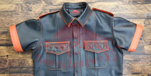 TAURUS LEATHER Black Sheep Leather Shirt With Orange Contrast and Stitching