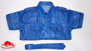 TAURUS LEATHER Light Blue Shirt With Black Trimming