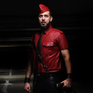 TAURUS LEATHER Red Color Sheep Leather Shirt