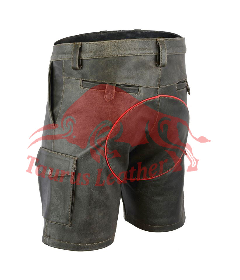 TAURUS LEATHER Cow Leather Short With Red Trimming