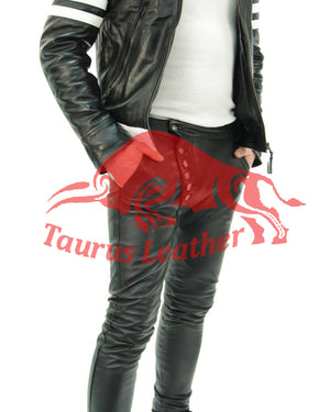 TAURUS LEATHER Sheep Leather Pant With Cross Fly Style
