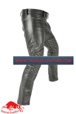 Taurus Leather Quilted Pant With Center Zip All round