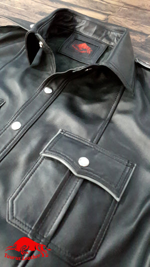 TAURUS LEATHER Black Shirt With Grey Trimming