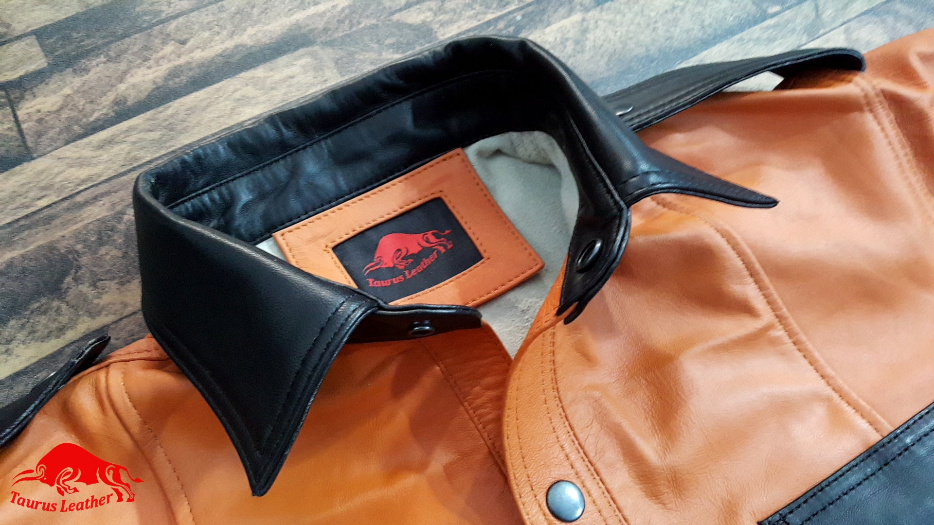 TAURUS LEATHER Orange Sheep Leather Shirt With Black Contrast