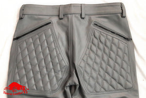 TAURUS LEATHER Grey Cow Leather Pant