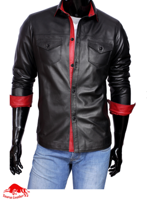 TAURUS LEATHER Full Sleeves Black Sheep Leather Shirt With Red Contrast