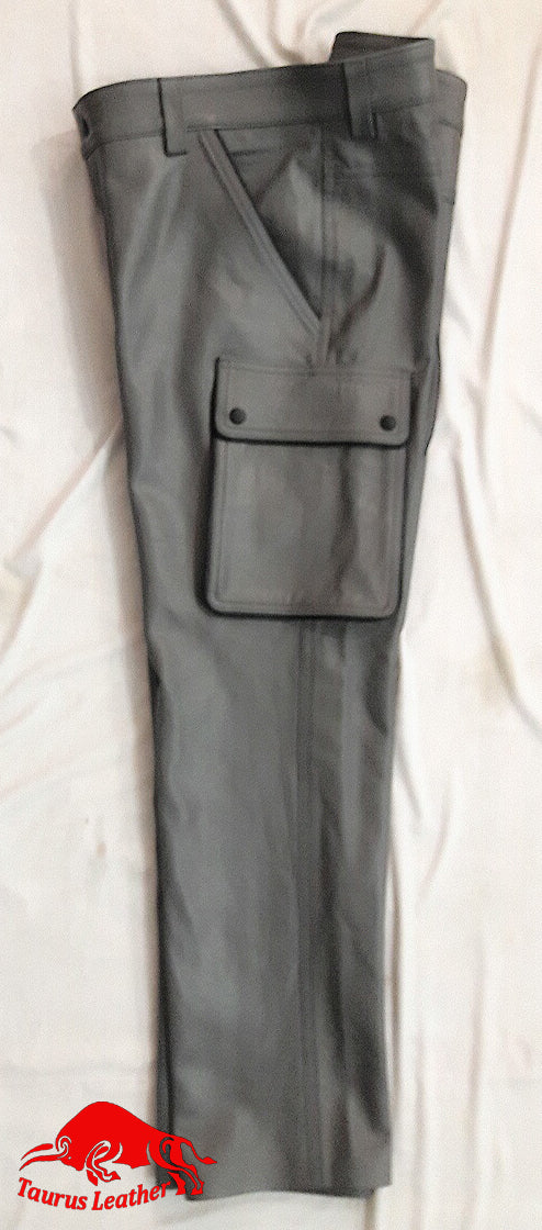 TAURUS LEATHER GREY TROUSER WITH BLACK TRIMMING
