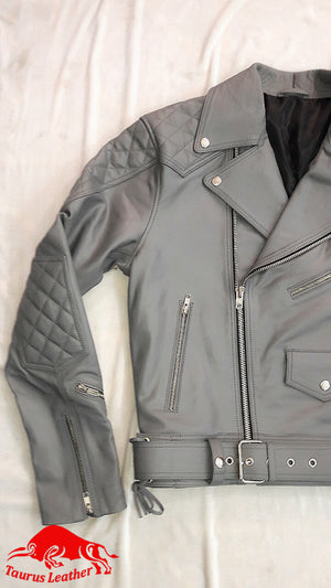 TAURUS LEATHER Grey Cow Leather Jacket