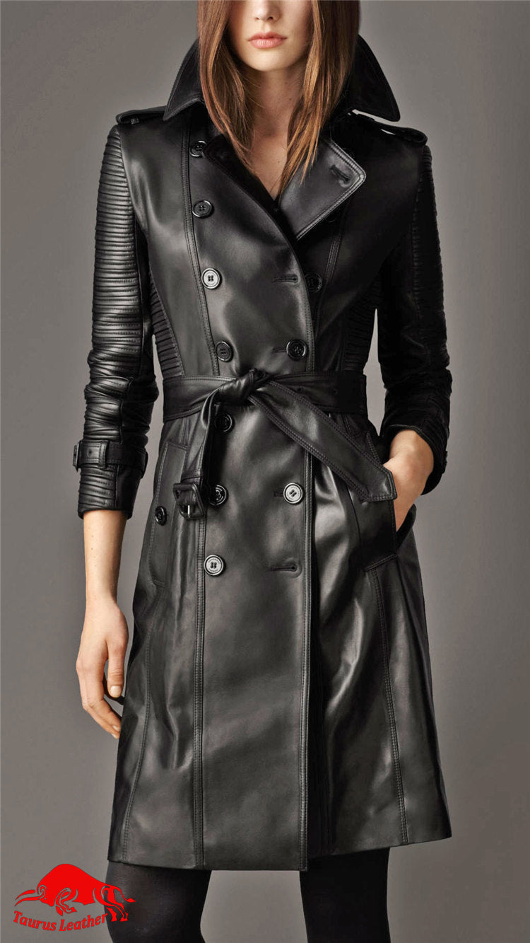 TAURUS LEATHER Chocolate color sheep leather long coat