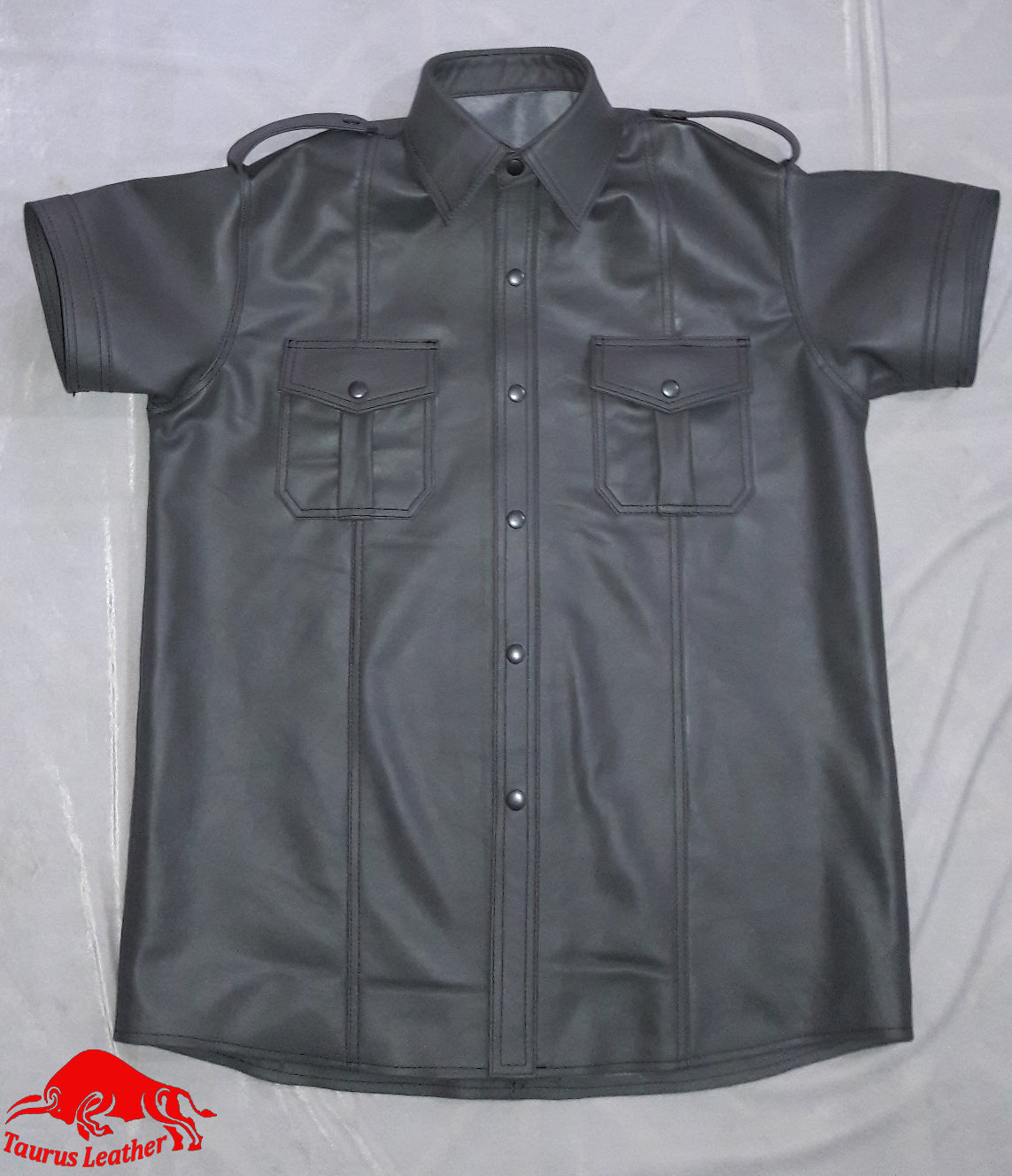 TAURUS LEATHER Silver Grey Sheep Leather Shirt