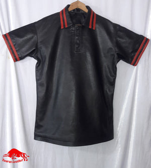Taurus Leather black Polo shirtwith Red Stripe