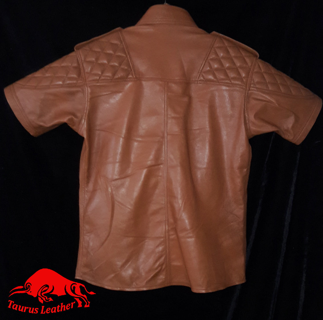 TAURUS LEATHER Sheep Leather Tank Color Shirt With Shoulder Padded Design