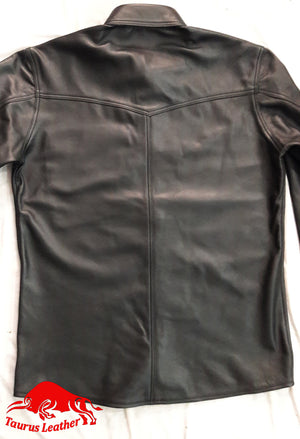 TAURUS LEATHER Single Pocket Long Sleeves Sheep Leather Shirt