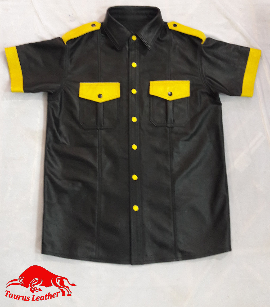 TAURUS LEATHER Black Color Sheep Leather Shirt With Yellow Contrast
