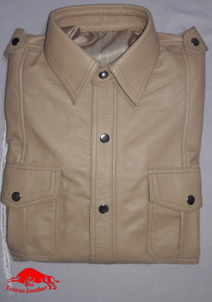 TAURUS LEATHER Beige Color Leather Shirt