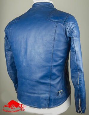 Blue color sheep leather jacket with two white strips on left hand side