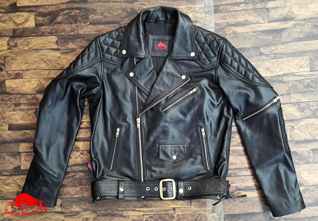 TAURUS LEATHER Biker Style Black Cow Leather Jacket