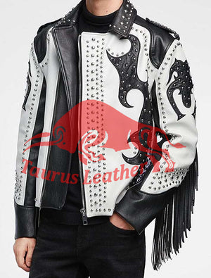 TAURUS LEATHER Black And White Cow Leather Jacket With Silver Studs