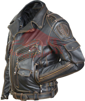 TAURUS LEATHER Cow Leather Biker Style Jacket With Contrast Stitching