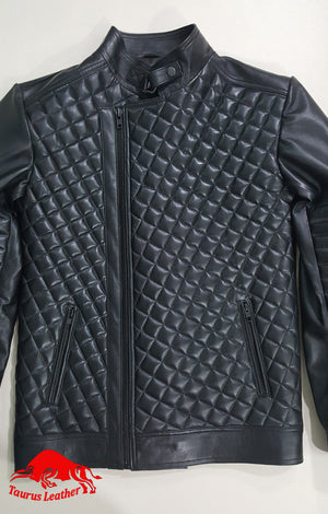 TAURUS LEATHER Black Quilted Sheep Leather Jacket