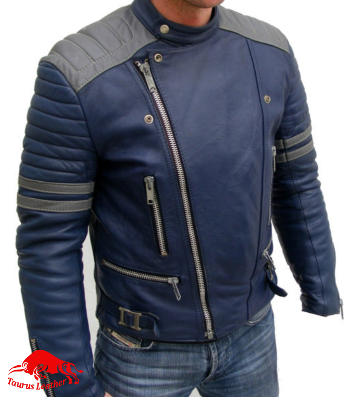 TAURUS LEATHER Blue And Grey Cow Leather Jacket