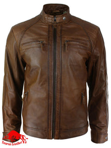 Brown Sheep Leather Jacket With Two Chest Pockets