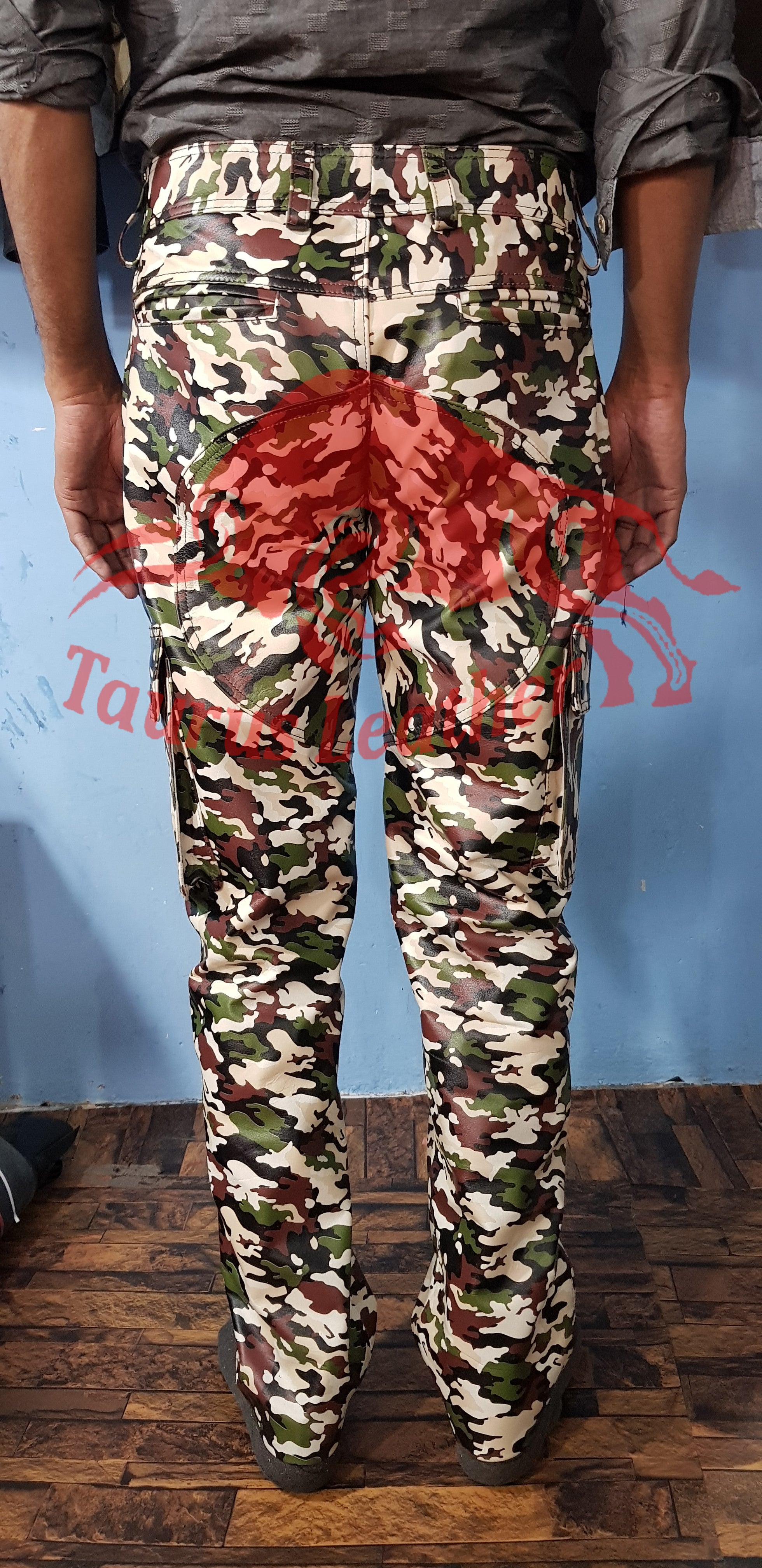 TAURUS LEATHER Camouflage Cow Leather Cargo Trouser