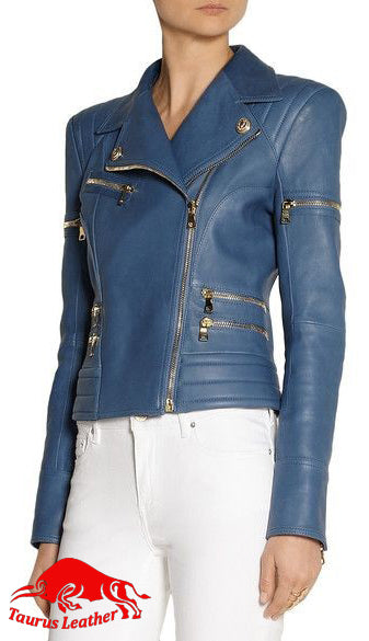 TAURUS LEATHER Light Blue Sheep Leather Women's Jacket