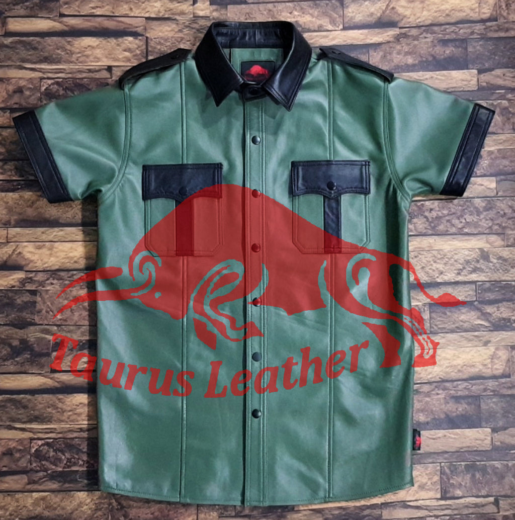 TAURUS LEATHER Parrot Green Sheep Leather Shirt With Black Contrast